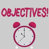Word writing text Objectives. Business concept for Goals planned to be achieved Desired targets.