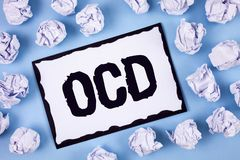 Word writing text Ocd. Business concept for Obsessive Compulsive Disorder Psychological Illness Medical Condition written on White. Word writing text Ocd Stock Photography