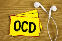 Word writing text Ocd. Business concept for Obsessive Compulsive Disorder Psychological Illness Medical Condition written on Yello. Word writing text Ocd Stock Photo