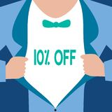 Word writing text 10 Off. Business concept for Discount of ten percent over regular price Promotion Sale Clearance.  royalty free illustration