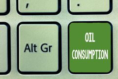 Word writing text Oil Consumption. Business concept for This entry is the total oil consumed in barrels per day.  Royalty Free Stock Image