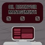Word writing text Oil Reservoir Management. Business concept for analysisaging the recovery of natural gas from rock Mounted. Computer Screen with Line Graph on royalty free stock images