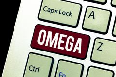 Word writing text Omega. Business concept for Class of essential fatty acids Lower the levels of cholesterol and LDL.  royalty free stock photo