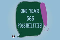 Word writing text One Year 365 Possibilities. Business concept for Fresh new start Opportunities Motivation Blank Color Speech. Bubble Outlined with Exclamation stock illustration