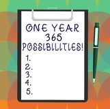 Word writing text One Year 365 Possibilities. Business concept for Fresh new start Opportunities Motivation Blank Sheet. Of Bond Paper on Clipboard with Click royalty free illustration