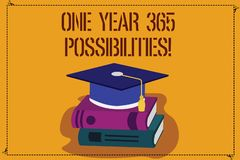 Word writing text One Year 365 Possibilities. Business concept for Fresh new start Opportunities Motivation Color. Graduation Hat with Tassel 3D Academic cap royalty free illustration