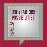 Word writing text One Year 365 Possibilities. Business concept for Fresh new start Opportunities Motivation Square. Speech Bubbles Inside Another with Broken vector illustration