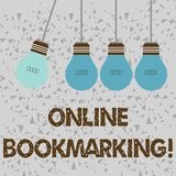 Word writing text Online Bookmarking. Business concept for used to save a URL address for future reference Color. Word writing text Online Bookmarking. Business stock illustration