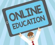 Word writing text Online Education. Business concept for study and ethical practice of facilitating learning.  Royalty Free Illustration