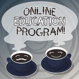Word writing text Online Education Program. Business concept for Distance learning that relies on the Internet Sets of Cup Saucer royalty free illustration