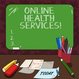 Word writing text Online Health Services. Business concept for Healthcare practice supported by electronic processes Mounted Blank. Color Blackboard with Chalk royalty free stock photos