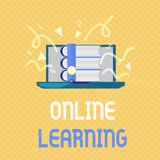 Word writing text Online Learning. Business concept for Larning with the assistance of the Internet and a computer.  vector illustration