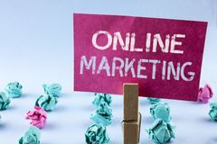 Word writing text Online Marketing. Business concept for Marketing digital advertising social media e-commerce written on Pink Sti. Word writing text Online Royalty Free Stock Images