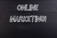 Word writing text Online Marketing. Business concept for leveraging web based channels spread about companys brand. Word writing text Online Marketing. Business royalty free stock image