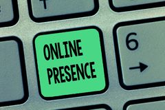 Word writing text Online Presence. Business concept for existence of someone that can be found via an online search.  stock images