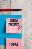 Word writing text Online Presence. Business concept for existence of someone that can be found via an online search. Word writing text Online Presence. Business stock images