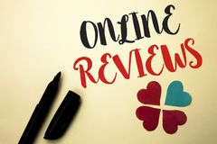 Word writing text Online Reviews. Business concept for Internet Evaluations Customer Rating Opinions Satisfaction written by Marke. R the plain background Hearts Stock Photography
