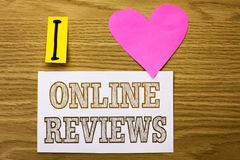 Word writing text Online Reviews. Business concept for Internet Evaluations Customer Rating Opinions Satisfaction written on Stick. Word writing text Online Stock Images