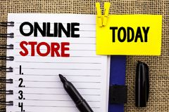 Word writing text Online Store. Business concept for Internet related business Website where you can buy in the net written on Not. Word writing text Online Royalty Free Stock Photography
