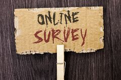 Word writing text Online Survey. Business concept for Digital Media Poll Customer Feedback Opinions Questionnaire written on Cardb. Word writing text Online Stock Images