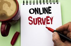 Word writing text Online Survey. Business concept for Digital Media Poll Customer Feedback Opinions Questionnaire written by Man o. Word writing text Online Stock Photos