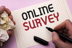 Word writing text Online Survey. Business concept for Digital Media Poll Customer Feedback Opinions Questionnaire written by Man o. Word writing text Online Royalty Free Stock Photo