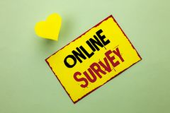 Word writing text Online Survey. Business concept for Digital Media Poll Customer Feedback Opinions Questionnaire written on Yello. Word writing text Online Stock Photography