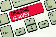 Word writing text Online Survey. Business concept for Reappraisal Feedback Poll Satisfaction Rate Testimony.  stock images
