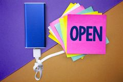 Word writing text Open. Business concept for Allow things to pass through or for immediate use Contrary of closed Multiple colour. Sticky remember cards data stock photos