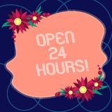 Word writing text Open 24 Hours. Business concept for Working all day everyday business store always operating Blank royalty free illustration
