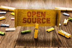 Word writing text Open Source. Business concept for denoting software which original source code freely available Clothespin holdi. Ng old piece fabric several royalty free stock images