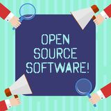 Word writing text Open Source Software. Business concept for software with source code that anyone can modify Hu analysis Hands. Each Holding Magnifying Glass royalty free stock image