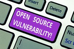 Word writing text Open Source Vulnerability. Business concept for Publicized Exploits are open to malicious users. Keyboard key Intention to create computer royalty free stock photo