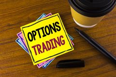 Word writing text Options Trading. Business concept for Options trading investment commodities stock market analysis written on St. Word writing text Options Royalty Free Stock Photography