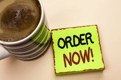Word writing text Order Now. Business concept for Buy Purchase Order Deal Sale Promotion Shop Product Register written on Green St. Word writing text Order Now Royalty Free Stock Photos