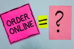 Word writing text Order Online. Business concept for Buying goods and services from the sellers over the internet Pink paper notes. Reminders equal sign royalty free stock images