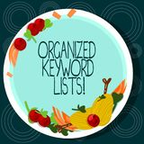 Word writing text Organized Keyword Lists. Business concept for Taking list of keywords and place them in groups Hand Drawn Lamb. Chops Herb Spice Cherry royalty free illustration