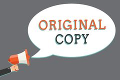 Word writing text Original Copy. Business concept for Main Script Unprinted Branded Patented Master List Man holding megaphone lou. Dspeaker speech bubble royalty free illustration