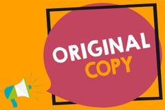 Word writing text Original Copy. Business concept for Main Script Unprinted Branded Patented Master List Megaphone loudspeaker lou. D screaming orange background royalty free illustration
