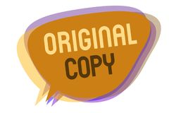 Word writing text Original Copy. Business concept for Main Script Unprinted Branded Patented Master List Speech bubble idea messag. E reminder shadows important royalty free illustration