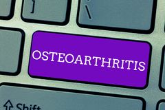 Word writing text Osteoarthritis. Business concept for Degeneration of joint cartilage and the underlying bone stock photo