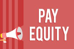 Word writing text Pay Equity. Business concept for eliminating sex and race discrimination in wage systems Megaphone loudspeaker r. Ed stripes important message vector illustration