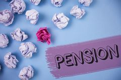 Word writing text Pension. Business concept for Income seniors earn after retirement Saves for elderly years written on the Painte. Word writing text Pension Royalty Free Stock Images
