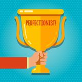 Word writing text Perfectionist. Business concept for Person who wants everything to be perfect Highest standards Hand