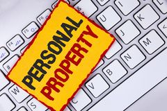 Word writing text Personal Property. Business concept for Belongings possessions assets private individual owner written on Sticky. Word writing text Personal Stock Photos