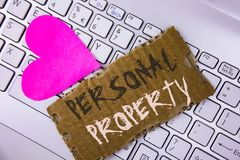 Word writing text Personal Property. Business concept for Belongings possessions assets private individual owner written on Tear C. Word writing text Personal Stock Image