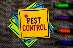 Word writing text Pest Control. Business concept for Killing destructive insects that attacks crops and livestock Paper notes Impo