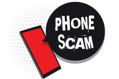 Word writing text Phone Scam. Business concept for getting unwanted calls to promote products or service Telesales Cell phone rece