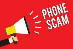 Word writing text Phone Scam. Business concept for getting unwanted calls to promote products or service Telesales Man holding meg vector illustration