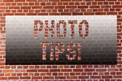 Word writing text Photo Tips. Business concept for Suggestions to take good pictures Advices for great photography Brick. Word writing text Photo Tips. Business royalty free stock image